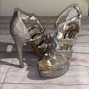 Guess Ultra High Glitter Heels Size 6.5